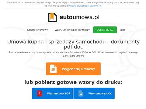 Autoumowa.pl - sprzedaż samochodu