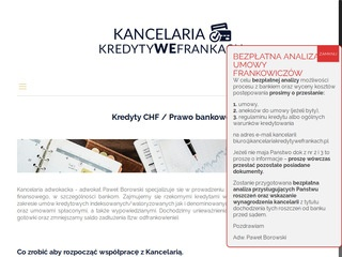 Kancelariakredytywefrankach.pl