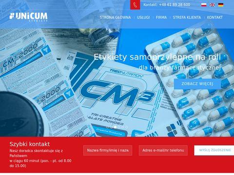 Unicum.com.pl - etykiety samoprzylepne