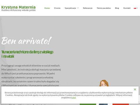 Krystyna Maternia - tłumaczenia włoski
